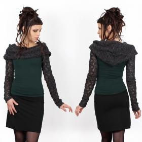 "\""Atmäa\"" crochet long sleeves top, Peacock teal and grey"