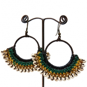 """Aya\"" ethnic golden brass earrings with beads and stones"
