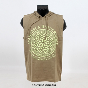 """Ayahuasca\"" hooded tank top, Khaki green"