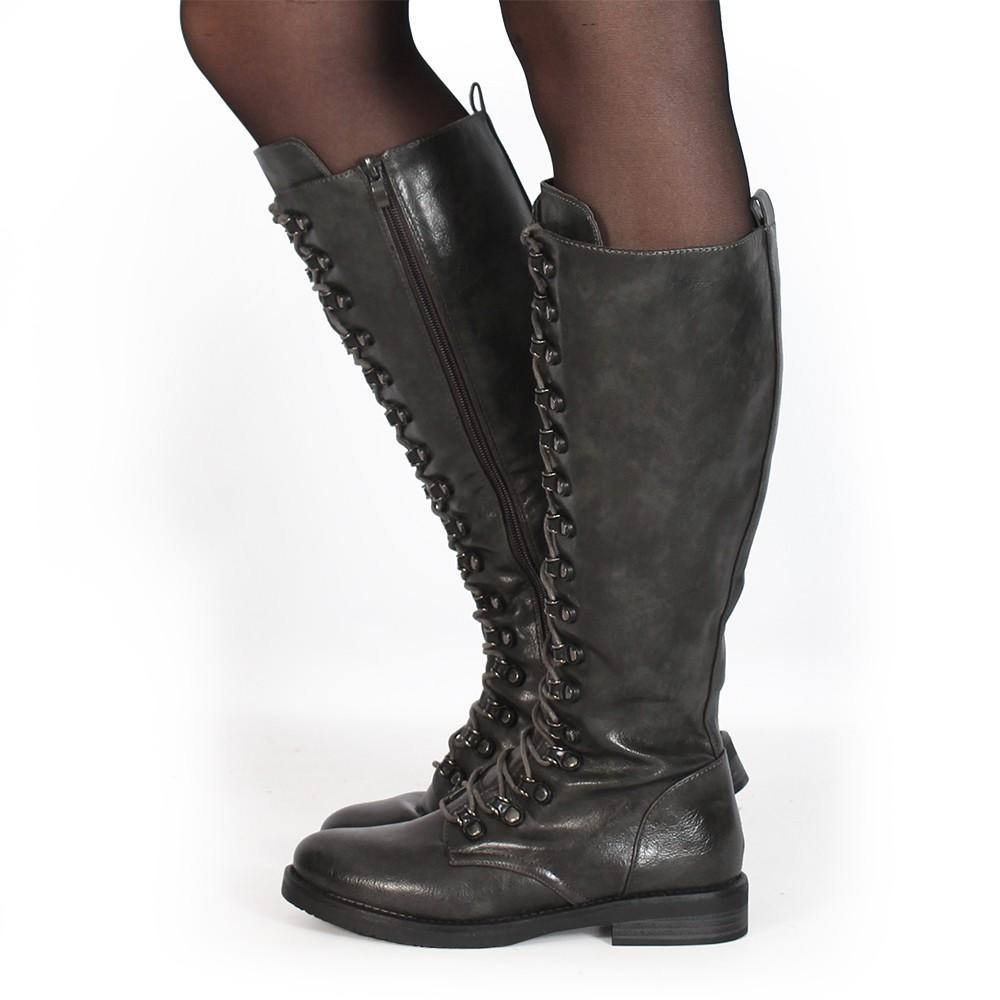"\""Azazel\"" laced high boots, Grey"