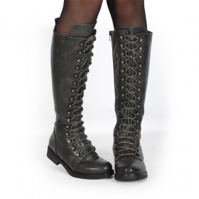 """Azazel\"" laced high boots, Grey"