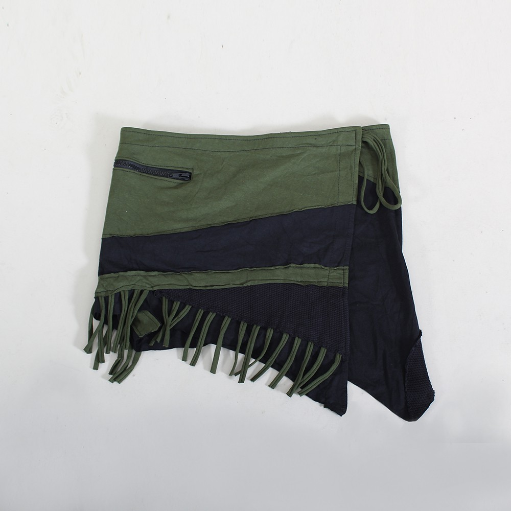 """Azhar\"" skirt, Black and khaki green"