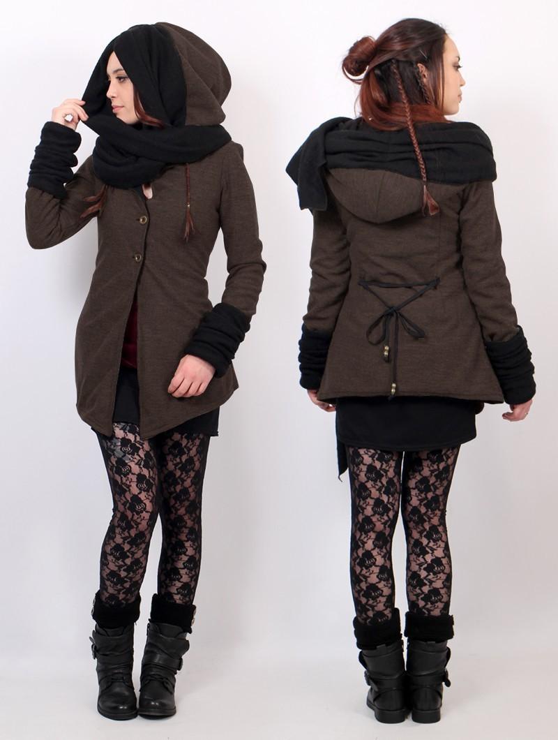 "\""Azmäe\"" lined jacket, Brown and black"