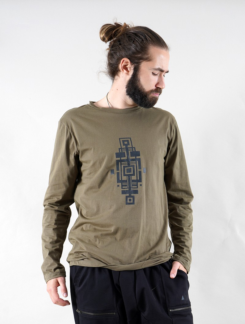 """Aztec Bumi\"" long sleeve t-shirt, Khaki green"