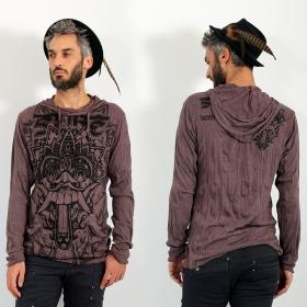 "\\\""Bali Dragon\\\"" hooded t-shirt, Brown"