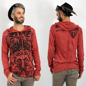 "\\\""Bali Dragon\\\"" hooded t-shirt, Dark red"