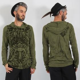 "\\\""Bali Dragon\\\"" hooded t-shirt, Khaki"