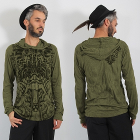 "\""Bali Dragon\\\"" hooded t-shirt, Khaki"
