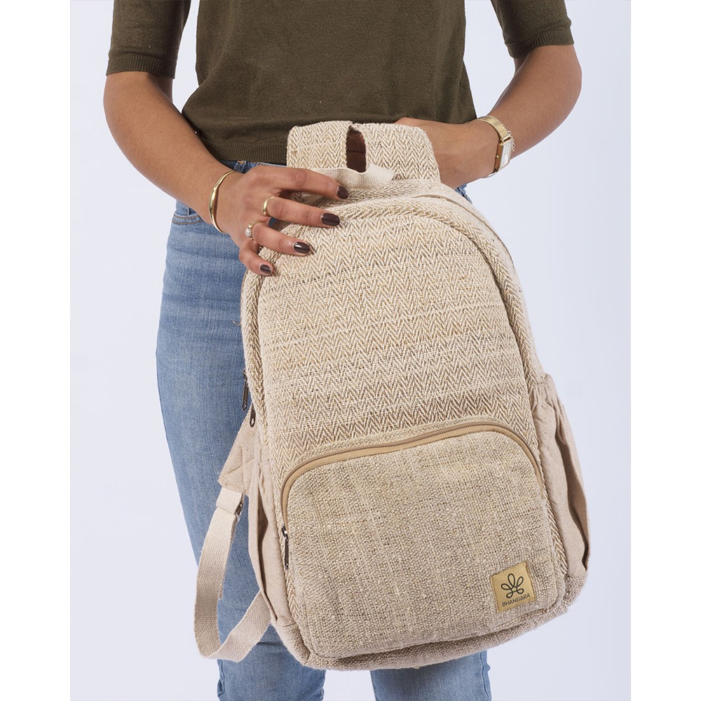"""Bara\"" backpack, sand hemp and cotton"