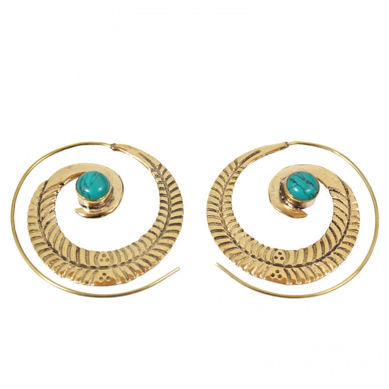 "\""Bavandar\"" earrings, Turquoise stone"