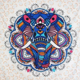 """Big Elephant Mandala\"" large hanging, Blue"