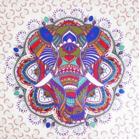 """Big Elephant Mandala\"" large hanging, Purple"