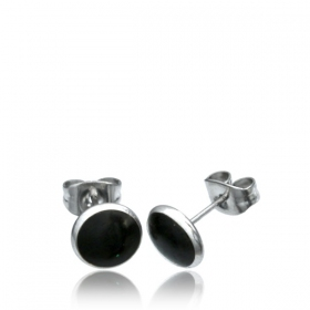 """Black circle\"" stud earrings"