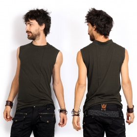 """Blended\"" sleeveless T-shirt, Khaki green"
