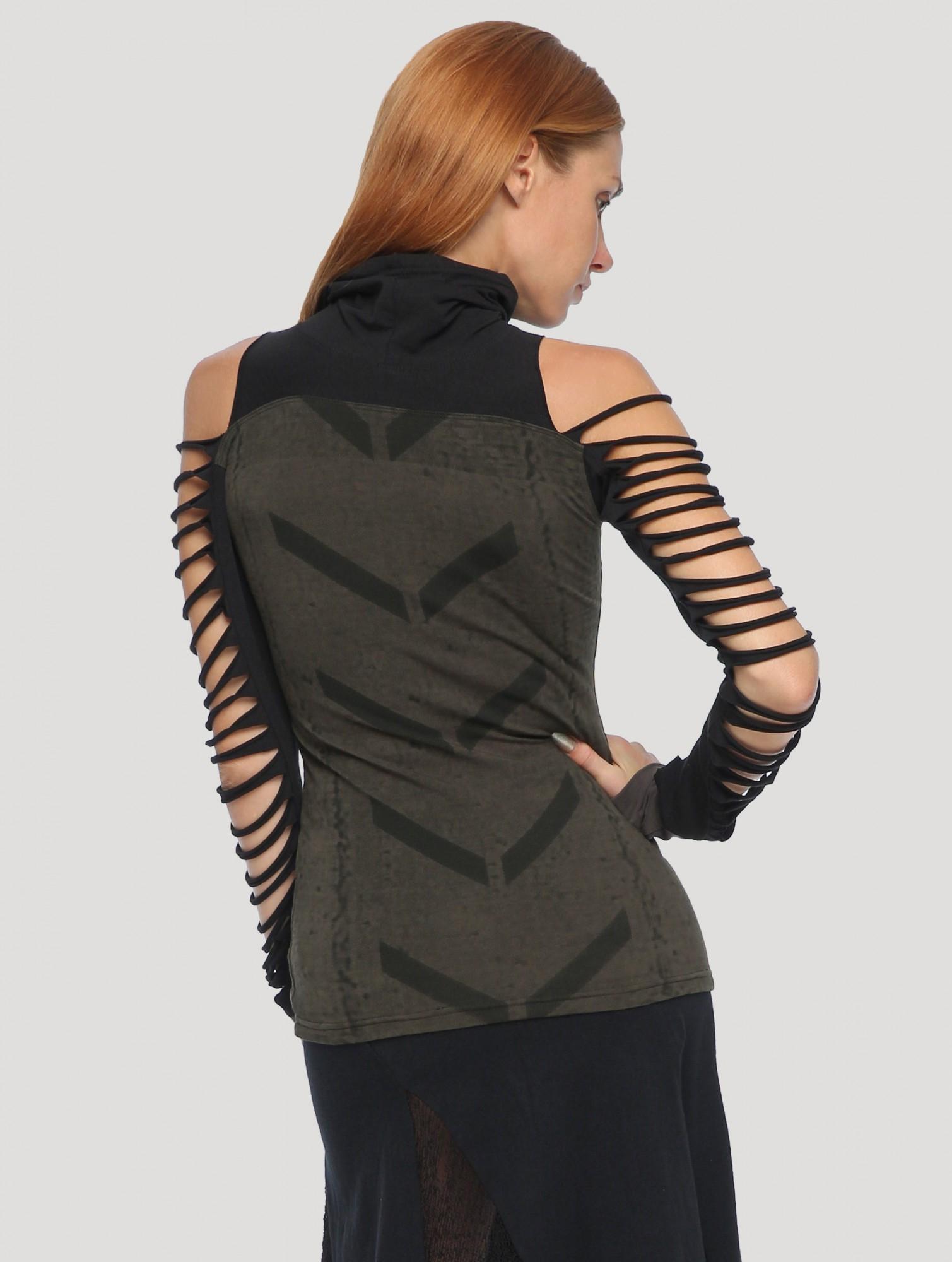 "\""Bogo\"" long sleeved top, Dark khaki green and black"