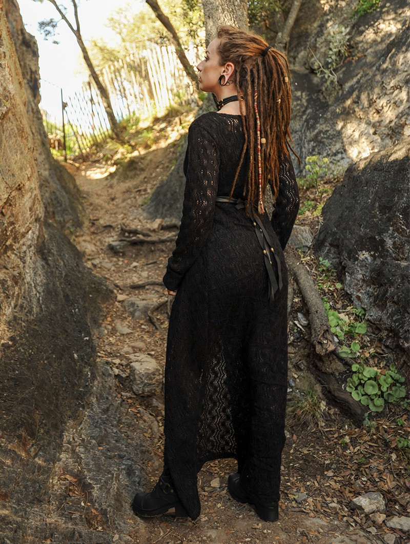 "\""Boheme\"" crochet long cardigan, Black"