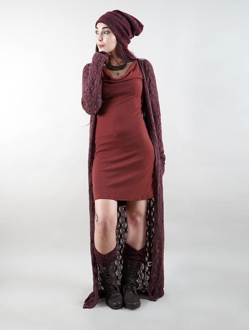 "\""Boheme\"" crochet long cardigan, Wine"