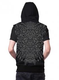 "\""Bonez\"" sleeveless zipped hoodie, Black"