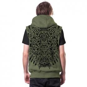 "\""Bonez\"" sleeveless zipped hoodie, Khaki"