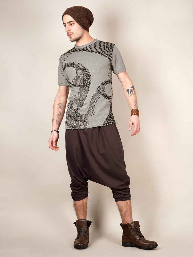 """Bouddha Ornement\"" t-shirt, Grey beige"