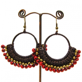 """Chamya\"" ethnic golden brass earrings with beads and stones"