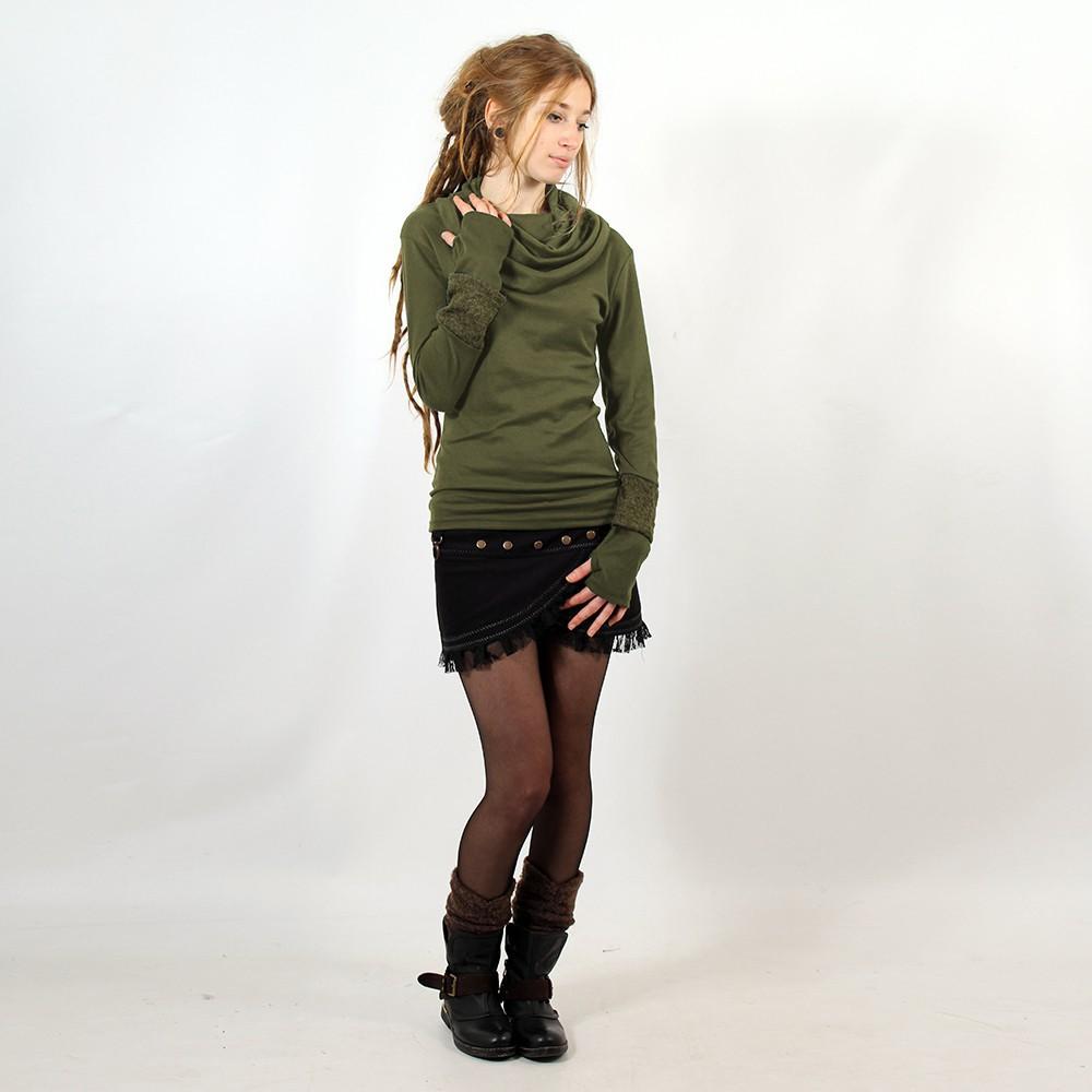 "\""Chayan\"" sweater, Green and khaki"