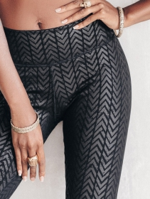 """Chevron\"" long leggings, Printed black"