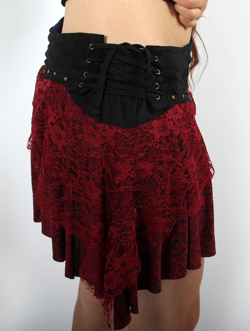"""Chimey\"" skirt, Black and Wine"