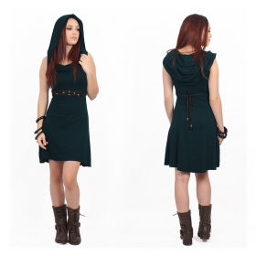 """Chryzz\"" hooded sleeveless dress, Dark Teal"