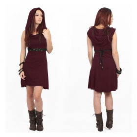 "\""Chryzz\"" hooded sleeveless dress, Wine"