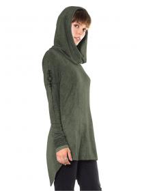 "\""Circlet\"" long sweater, Green Wash"