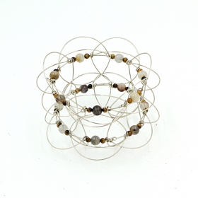 Classic wire 3D Mandala, Tiger Eye stone