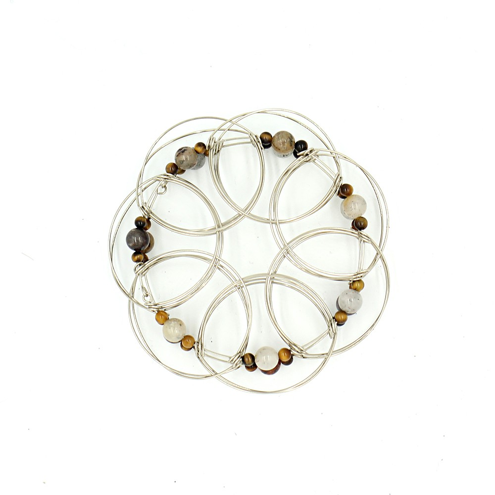 Classic wire 3D Mandala, Tiger Eye stone