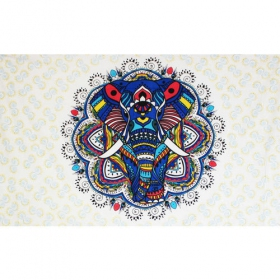 """Colourful elephant mandala\"" hanging, Blue"