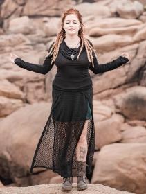 "\""Creature\"" crochet skirt, Peacock teal"