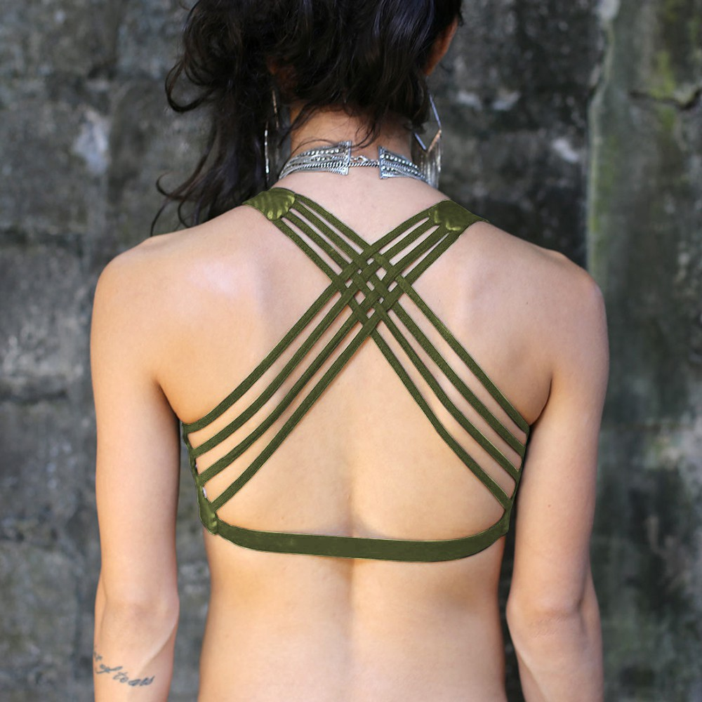 """CrissCross yoga\"" bra, Khaki with Hypnotik print"