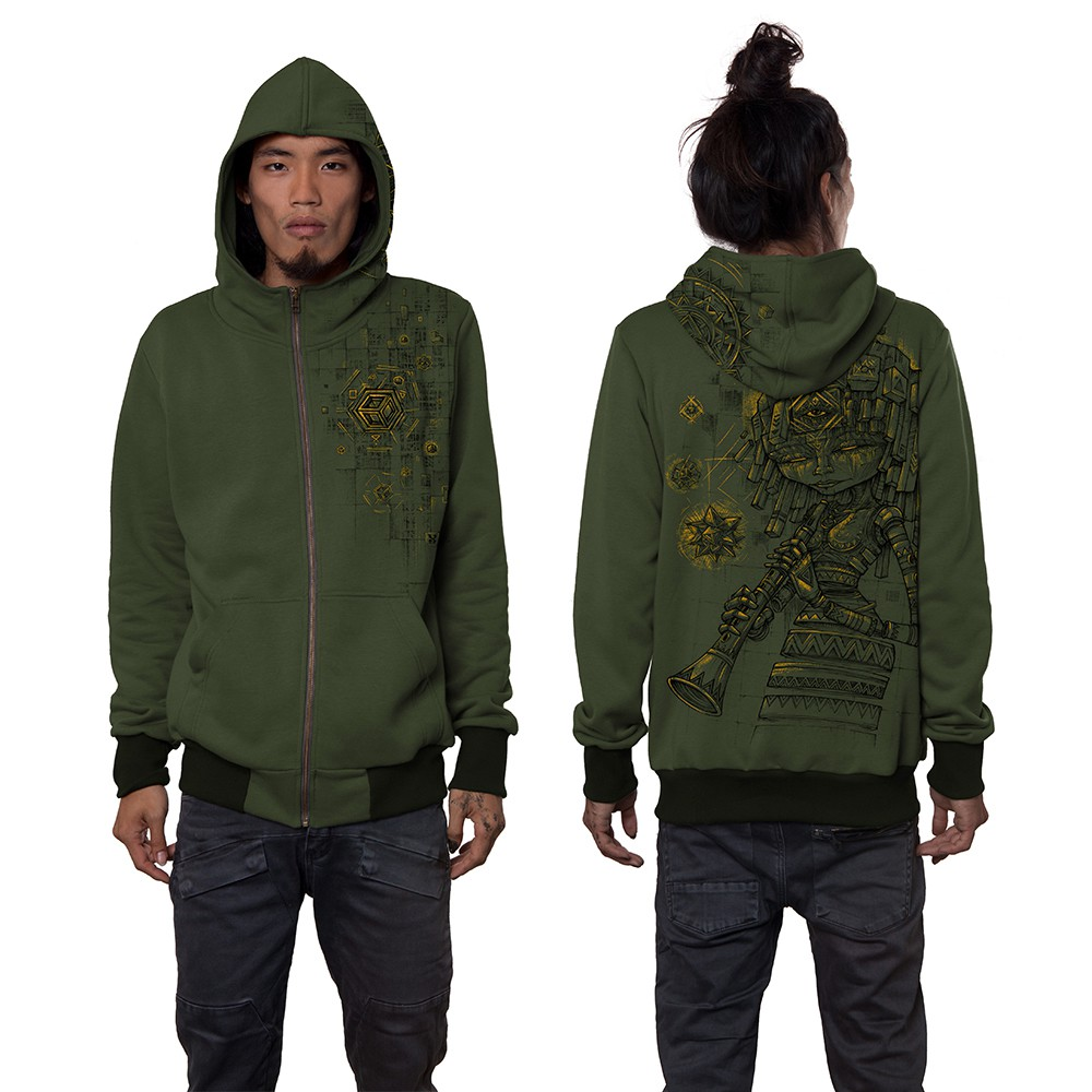 "\""Cubina\"" zipped hoodie, Khaki green"