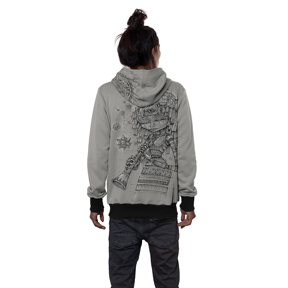 "\""Cubina\"" zipped hoodie, Light grey"