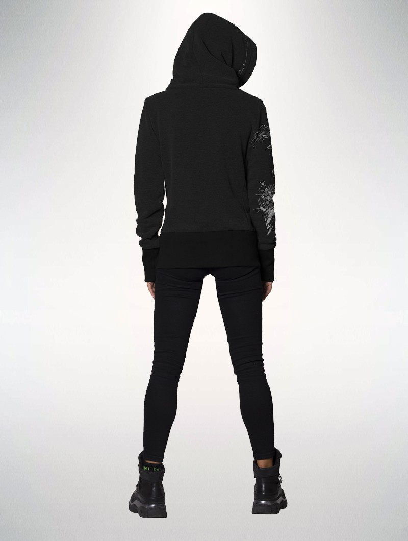 """Cyber Fox\"" big collar hoodie, Black"