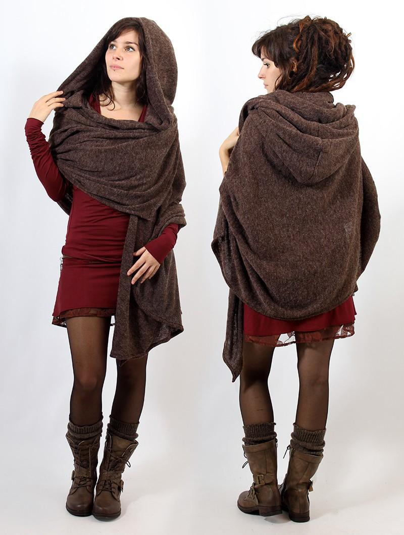 "\""Danae\"" hooded cape, Brown"