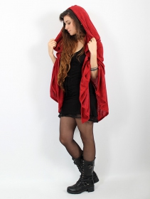 "\""Danae\"" hooded cape, Red"