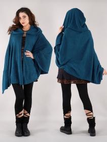 "\""Danae\"" hooded cape, Teal blue"
