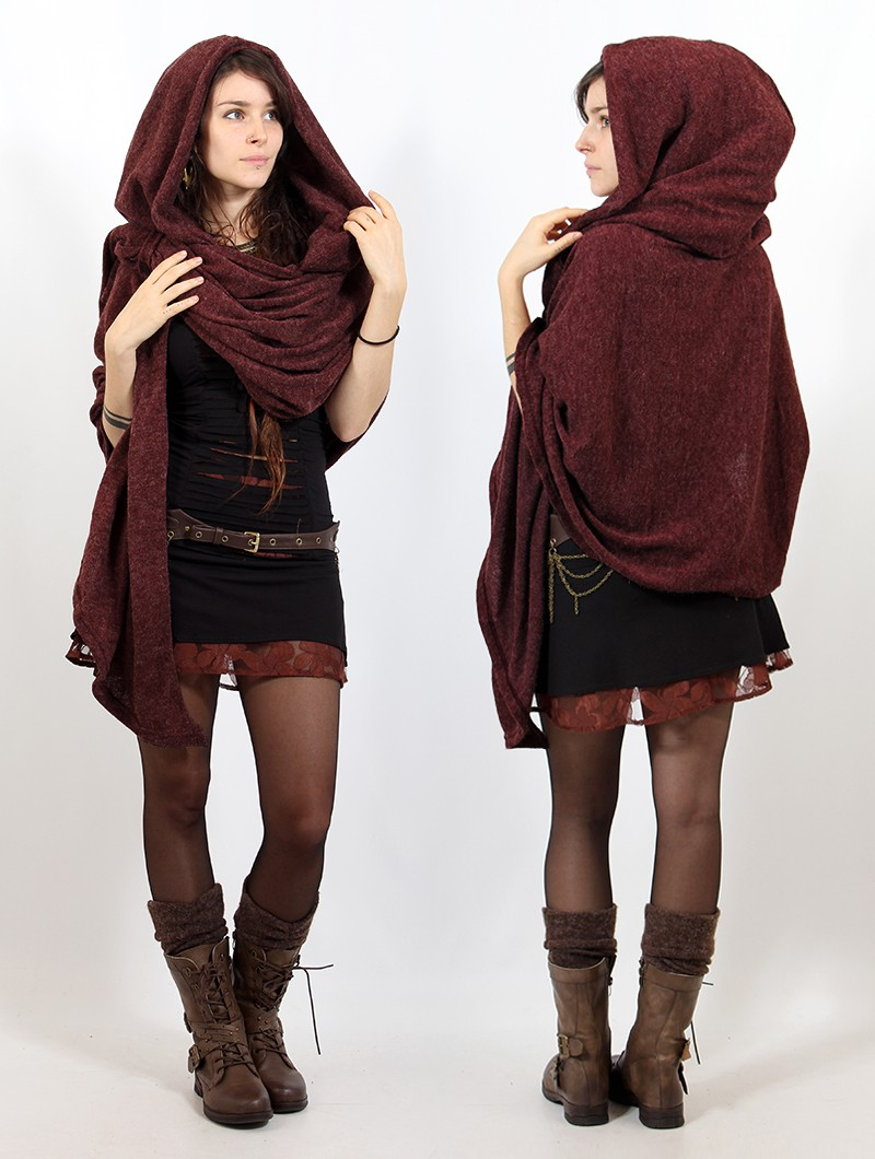 """Danae\"" hooded cape, Wine"