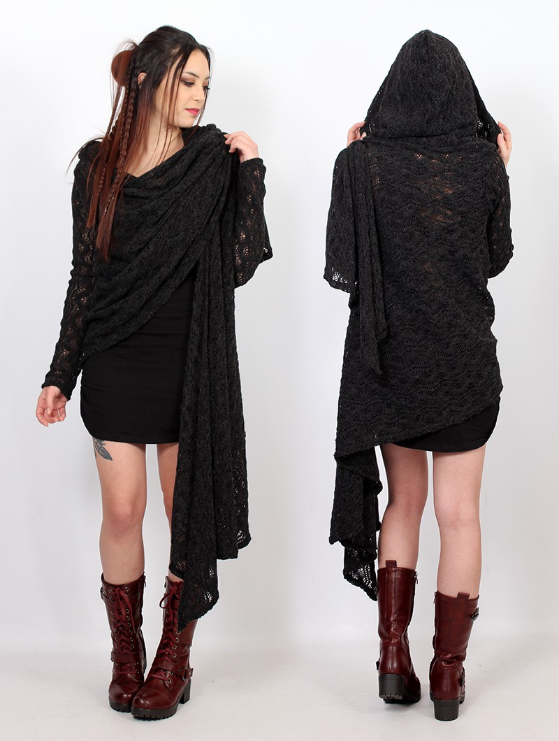 """Danaeriz\"" crochet shawl, Black"