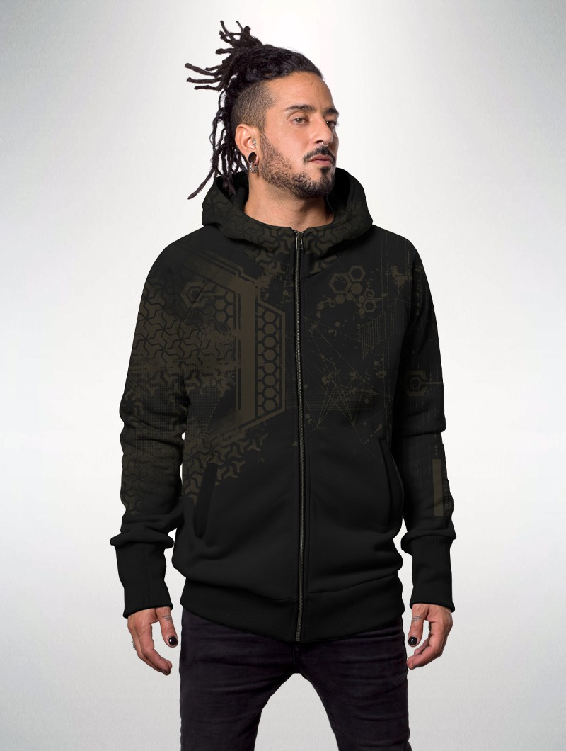 "\""Dea\"" zipped hoodie, Black"