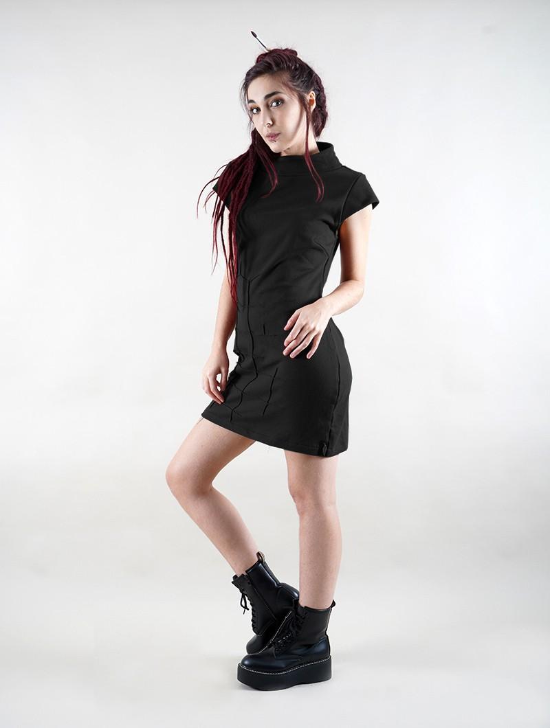 "\""Dewi\"" short sleeve dress, Black"