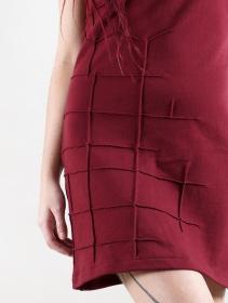 "\""Dewi\"" short sleeve dress, Wine"