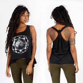 """Dharana\"" knotted tank top, Black and silver"