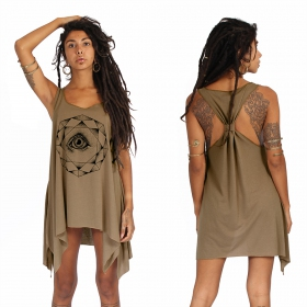 """Dharana\"" knotted tunic, Brown and black"