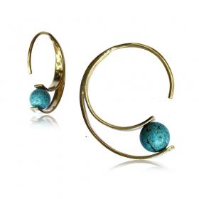 "\""Dhruvi Turquoise\"" brass ear jewel"